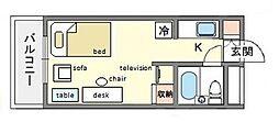 家具・家電付きメゾン・ド・祇園 B[6階]の間取り