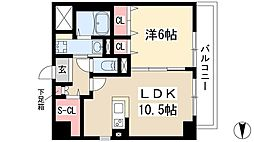 仮)弥富通マンション 2階1LDKの間取り