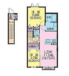 シャーメゾン シアラ 2階2LDKの間取り