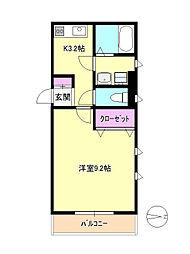 東京都日野市三沢の賃貸マンションの間取り