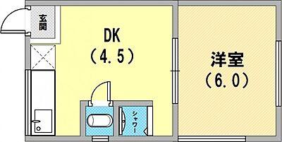 間取り,1DK,面積23m2,賃料2.7万円,阪急神戸本線 六甲駅 徒歩15分,阪急神戸本線 王子公園駅 徒歩19分,兵庫県神戸市灘区篠原北町4丁目10-5