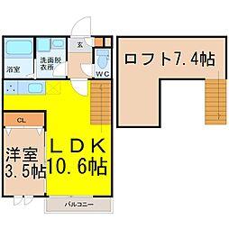 愛知県名古屋市中村区長筬町7丁目の賃貸アパートの間取り