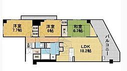 ディーグラフォート千里中央 18階3LDKの間取り