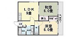 コート上野芝[303号室]の間取り