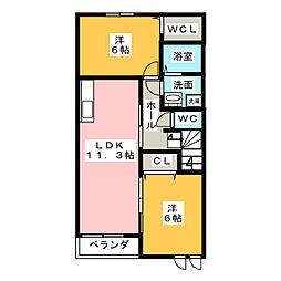 モデレート A[2階]の間取り