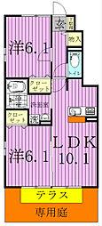 千葉県松戸市河原塚の賃貸アパートの間取り