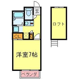 兵庫県尼崎市道意町の賃貸アパートの間取り