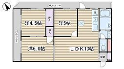 駒込台ハイツT棟[201号室]の間取り