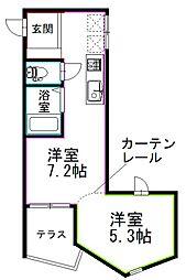 JR総武線 荻窪駅 徒歩22分の賃貸アパート 1階1DKの間取り