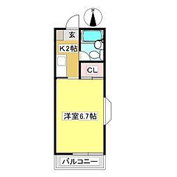 松田ハイツ 1階1Kの間取り