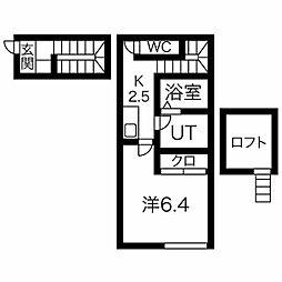 名古屋市営桜通線 車道駅 徒歩5分の賃貸アパート 2階1Kの間取り