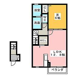 フュテル ヴァンクールB[2階]の間取り