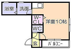 BEREO矢野 3階ワンルームの間取り