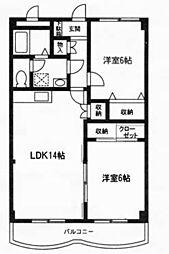 神奈川県大和市深見東3丁目の賃貸マンションの間取り