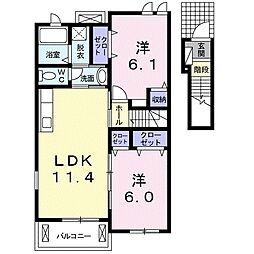 JR吉備線 備前一宮駅 バス15分 一宮東下車 徒歩5分の賃貸アパート 2階2LDKの間取り