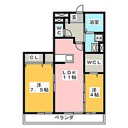 SeaSide西湘 3階2LDKの間取り