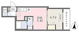 東武伊勢崎線 東向島駅 徒歩4分の賃貸マンション 1階1DKの間取り