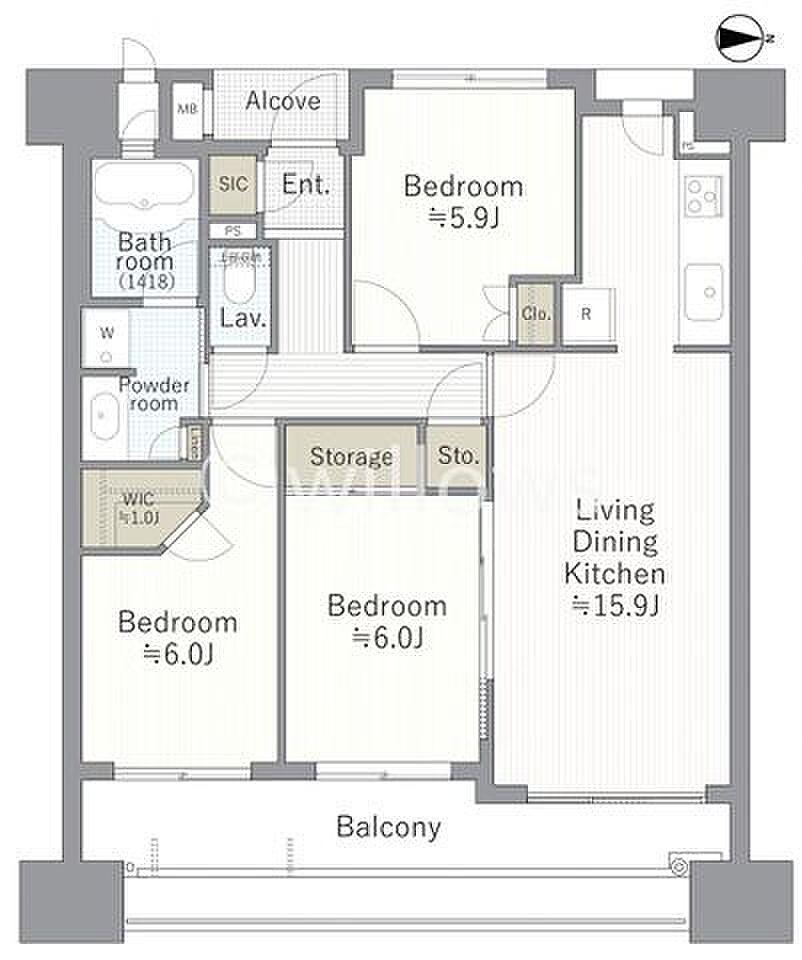 間取り(計算された使いやすい間取りは、図面を見るだけで伝わってきますね。各居室の収納など暮らしやすさを追求したお部屋になっております。)
