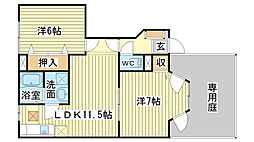 ソレイユ東山III[1階]の間取り