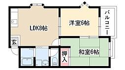 愛知県名古屋市天白区島田黒石の賃貸アパートの間取り