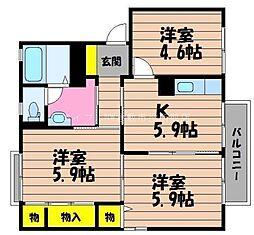 岡山県倉敷市玉島乙島丁目なしの賃貸アパートの間取り