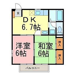 愛知県知多市つつじが丘1丁目の賃貸アパートの間取り