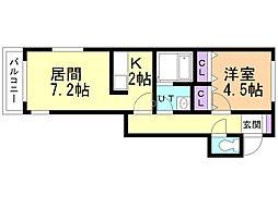アヴァンツァーレ 3階1LDKの間取り