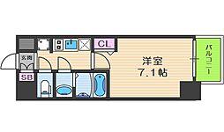 プレサンス京町堀 4階1Kの間取り