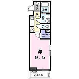JR豊肥本線 南熊本駅 徒歩12分の賃貸アパート 2階1Kの間取り