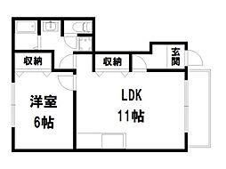 ルネ紫野[1階]の間取り