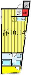 JR山手線 田端駅 徒歩15分の賃貸マンション 3階ワンルームの間取り