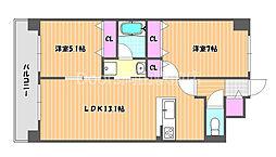JR吉備線 大安寺駅 徒歩5分の賃貸マンション 7階2LDKの間取り