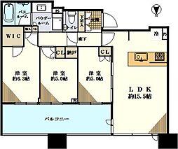 シティタワー武蔵小杉 41階3LDKの間取り