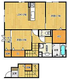 滋賀県栗東市下鈎高畔の賃貸アパートの間取り