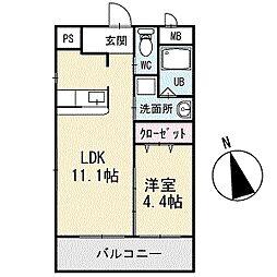 TKハウス[203号室]の間取り