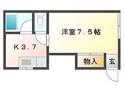 TOY'sハウス 1階1Kの間取り