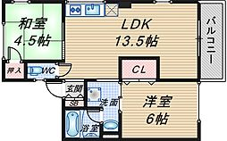 シティハイム東豊中[2階]の間取り