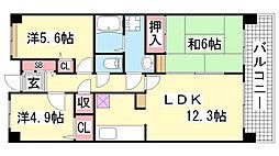 ウィング神戸[208号室]の間取り