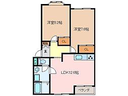 三重県松阪市西肥留町の賃貸アパートの間取り