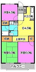東京都清瀬市野塩1丁目の賃貸マンションの間取り