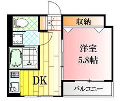 サニープレイス牛田新町 3階1DKの間取り