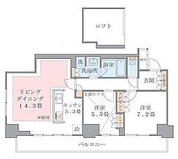 ブリリアイスト東雲キャナルコート(アパートメンツ東雲キャナル 14階2LDKの間取り