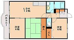 福岡県春日市大土居2丁目の賃貸マンションの間取り