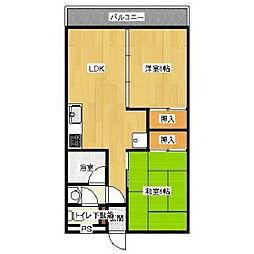 福岡県久留米市大手町の賃貸マンションの間取り