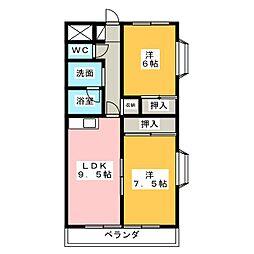 ソレアードミシマ 3階2LDKの間取り