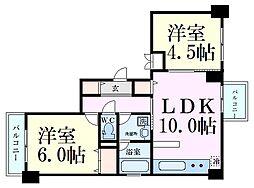 リバープレイス梅田北 2階2LDKの間取り
