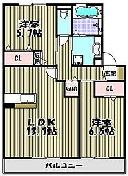 大阪府堺市西区浜寺元町1丁の賃貸アパートの間取り