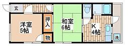 兵庫県神戸市須磨区川上町1丁目の賃貸アパートの間取り