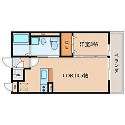 奈良県奈良市三条大路の賃貸アパートの間取り