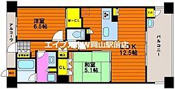 岡山県岡山市北区幸町丁目なしの賃貸マンションの間取り